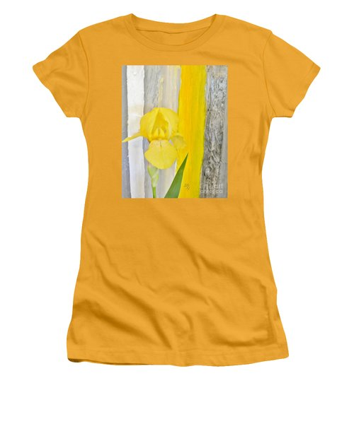 First Yellow Iris Women's T-Shirt (Junior Cut) by Marsha Heiken