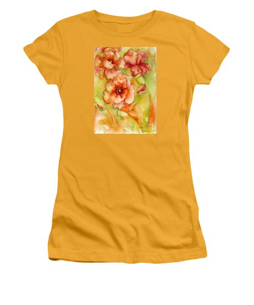 Women's T-Shirt (Junior Cut) featuring the painting Flying With The Wind Poppies by Inese Poga