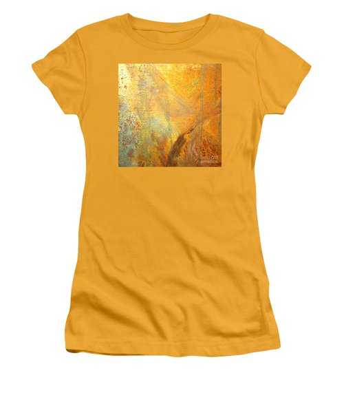 Women's T-Shirt (Junior Cut) featuring the mixed media Forest Gold by Michael Rock