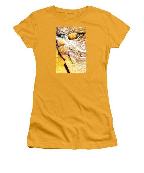 Four Yellow Eyes Women's T-Shirt (Junior Cut) by Andrea Barbieri
