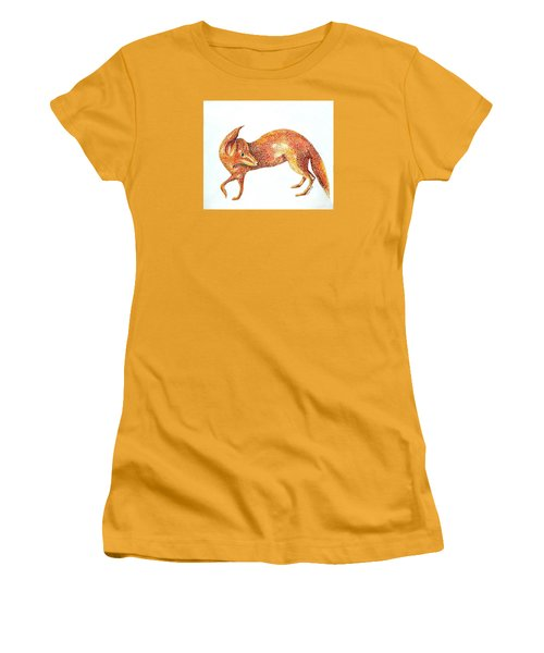 Women's T-Shirt (Junior Cut) featuring the painting Fox Trot by Tamyra Crossley