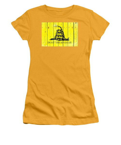 Gadsden Flag On Old Wood Planks Women's T-Shirt (Athletic Fit)