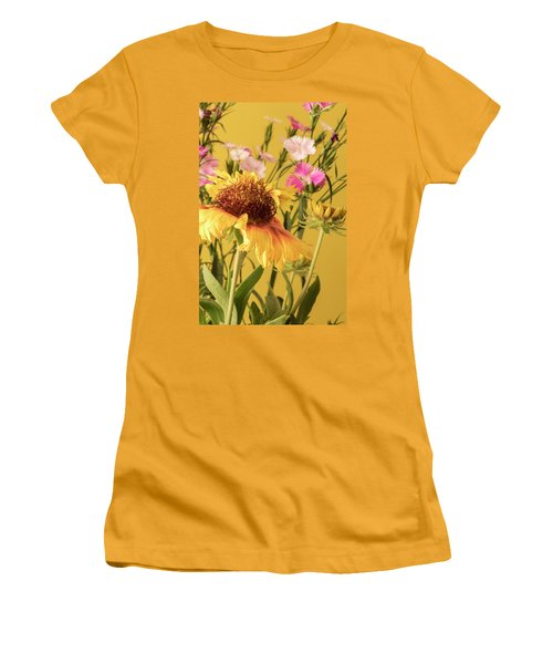 Women's T-Shirt (Junior Cut) featuring the photograph Gaillardia And Dianthus by Richard Rizzo