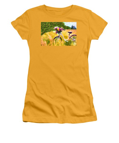 Garden Bicycle Print Women's T-Shirt (Athletic Fit)