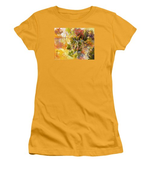 Women's T-Shirt (Junior Cut) featuring the painting Glow by Rae Andrews