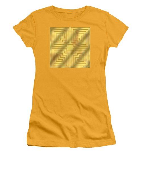Women's T-Shirt (Junior Cut) featuring the digital art Gold Geo 4 - Chuck Staley Design  by Chuck Staley