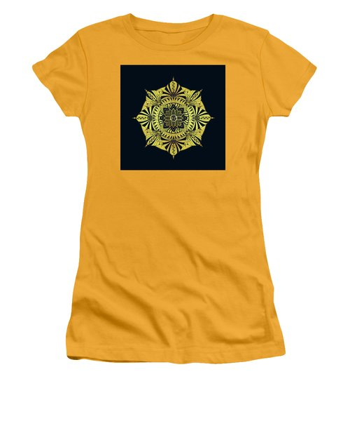 Women's T-Shirt (Junior Cut) featuring the drawing Golden Geometry by Deborah Smith