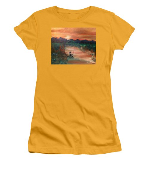 Women's T-Shirt (Athletic Fit) featuring the painting Golden Sunset by Denise Tomasura
