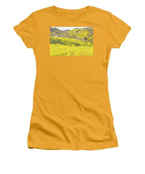 Women's T-Shirt (Junior Cut) featuring the photograph Goldfields And Temblor Hills by Marc Crumpler