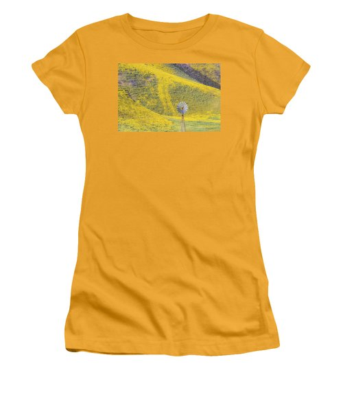 Goldfields And Windmill At Carrizo Plain  Women's T-Shirt (Athletic Fit)