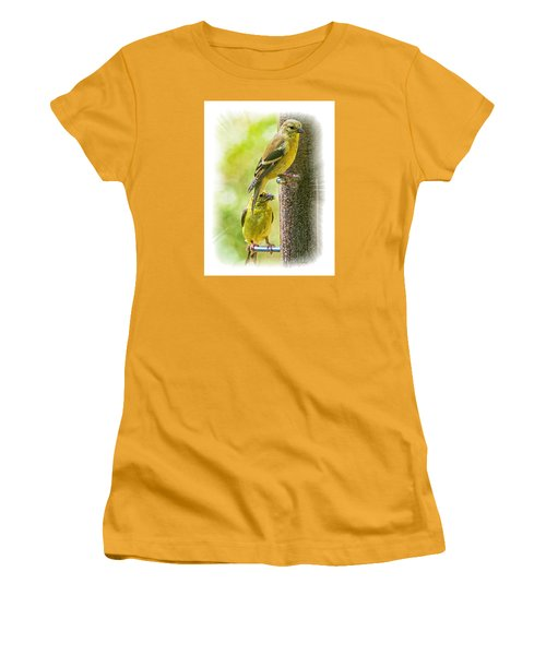 Women's T-Shirt (Junior Cut) featuring the photograph Goldfinches by Constantine Gregory