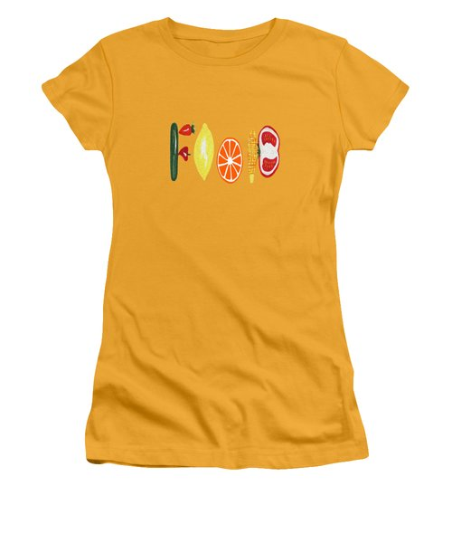Good Eats - Food Typography Women's T-Shirt (Athletic Fit)