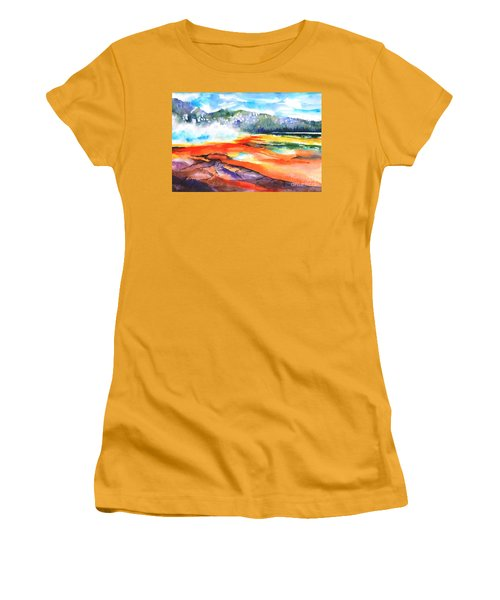 Grand Prismatic Hot Spring Women's T-Shirt (Junior Cut) by Betty M M Wong