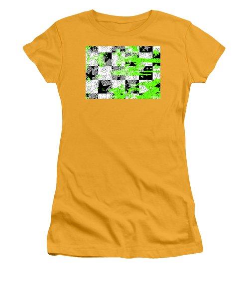 Green Checker Skull Splatter Women's T-Shirt (Junior Cut) by Roseanne Jones