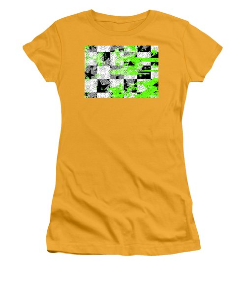 Green Checker Skull Splatter Women's T-Shirt (Athletic Fit)