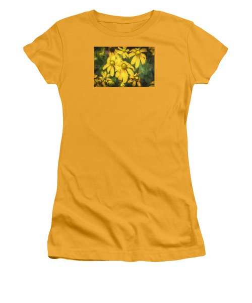 Green Headed Coneflowers Painted Women's T-Shirt (Junior Cut) by Rich Franco