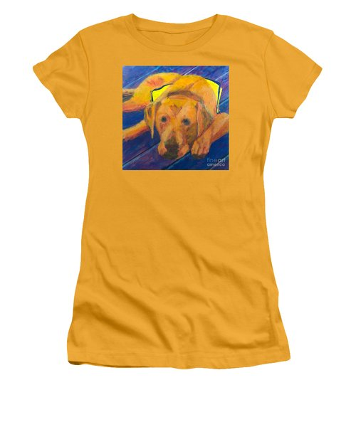 Women's T-Shirt (Junior Cut) featuring the painting Growing Puppy by Donald J Ryker III