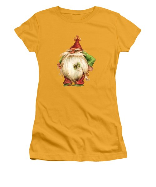 Grumpy Gnome Women's T-Shirt (Junior Cut) by Andy Catling