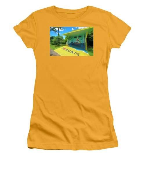 Guam Bus Stop Women's T-Shirt (Athletic Fit)