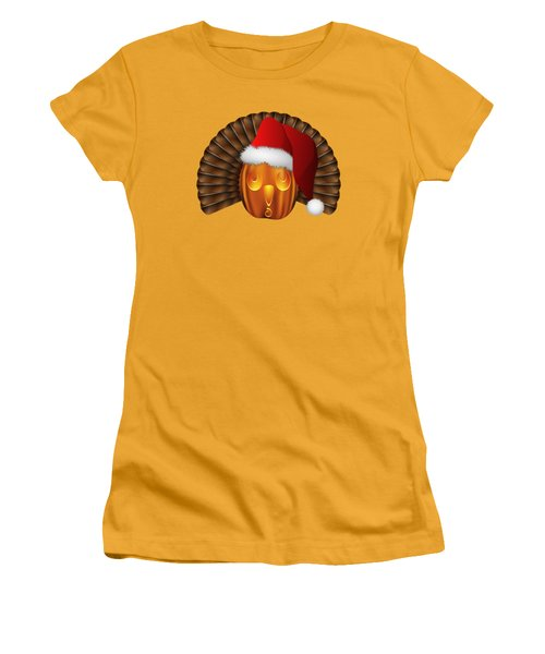 Hallowgivingmas Santa Turkey Pumpkin Women's T-Shirt (Junior Cut) by MM Anderson
