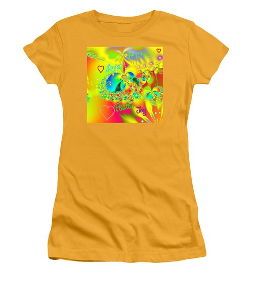 Women's T-Shirt (Junior Cut) featuring the mixed media Happiness by Kevin Caudill