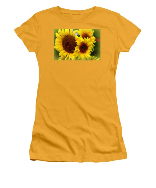 Women's T-Shirt (Junior Cut) featuring the photograph Happy Sunflowers by Kay Novy