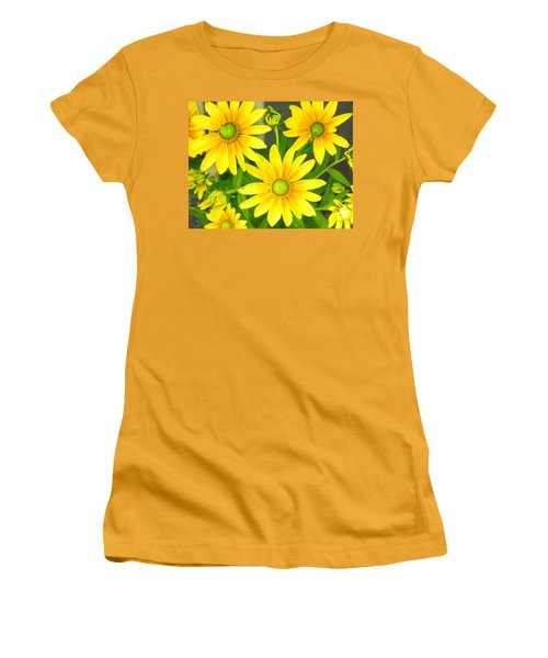 Happy Yellow Summer Cone Flowers In The Garden Women's T-Shirt (Athletic Fit)