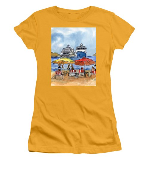 Hautuco Dock Women's T-Shirt (Junior Cut) by Randy Sprout