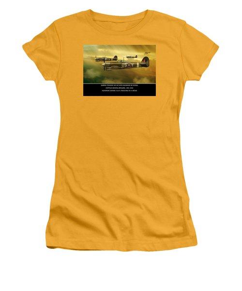 Women's T-Shirt (Junior Cut) featuring the digital art Hawker Typhoon Sqn 56 by John Wills