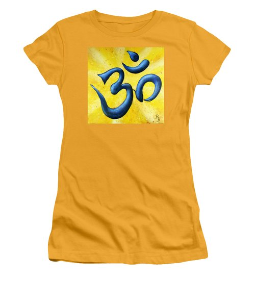 Women's T-Shirt (Athletic Fit) featuring the painting Hindu Om Symbol Art by Bob Baker
