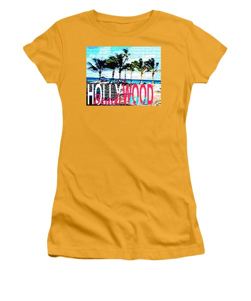 Hollywood Beach Fla Poster Women's T-Shirt (Athletic Fit)