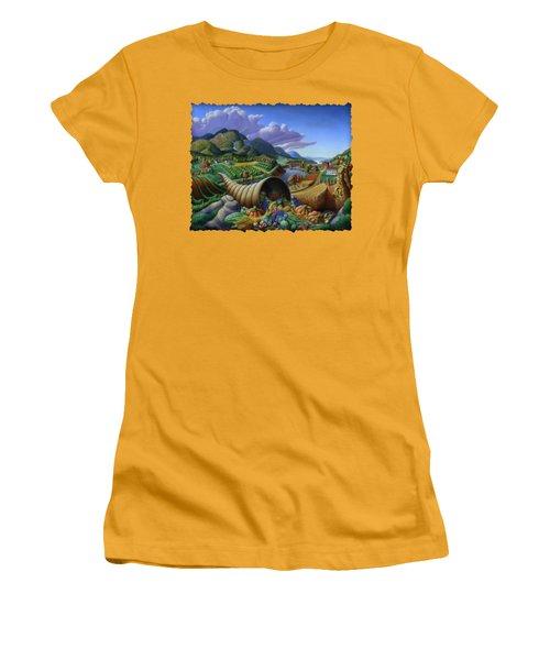 Horn Of Plenty - Cornucopia - Autumn Thanksgiving Harvest Landscape Oil Painting - Food Abundance Women's T-Shirt (Junior Cut) by Walt Curlee