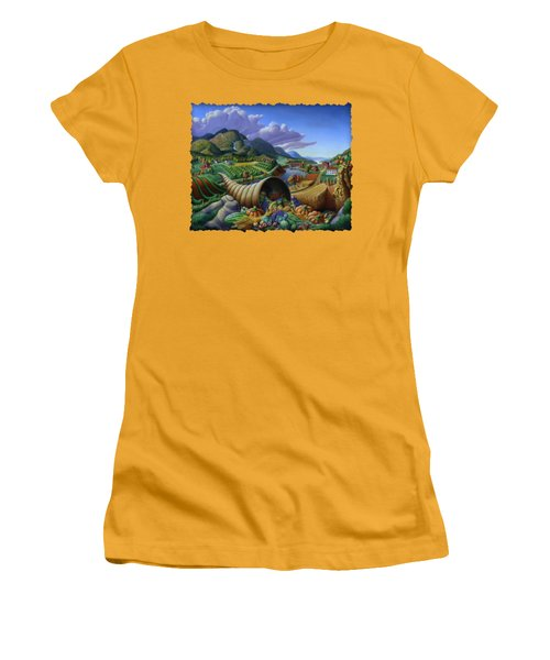 Horn Of Plenty - Cornucopia - Autumn Thanksgiving Harvest Landscape Oil Painting - Food Abundance Women's T-Shirt (Athletic Fit)