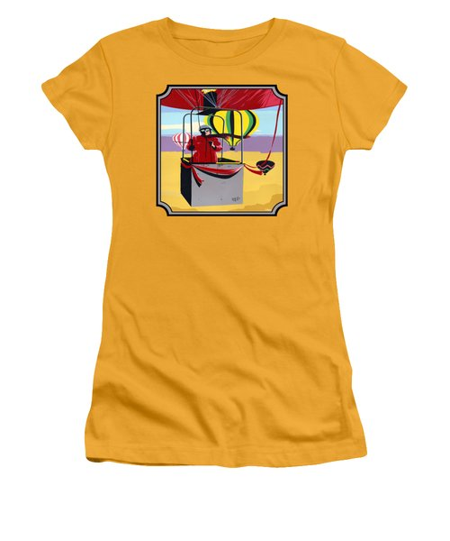 Hot Air Ballooning - Abstract - Pop Art -  Square Format Women's T-Shirt (Athletic Fit)