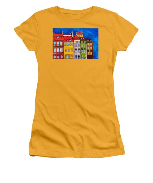 Women's T-Shirt (Junior Cut) featuring the painting Houses In The Oldtown Of Warsaw by Dora Hathazi Mendes
