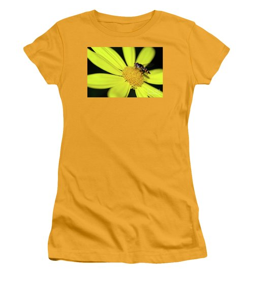 Women's T-Shirt (Athletic Fit) featuring the photograph Hoverfly On Bright Yellow Daisy By Kaye Menner by Kaye Menner