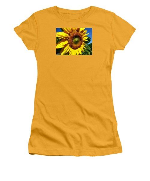Huge Bright Yellow Sunflower Women's T-Shirt (Junior Cut) by Tina M Wenger