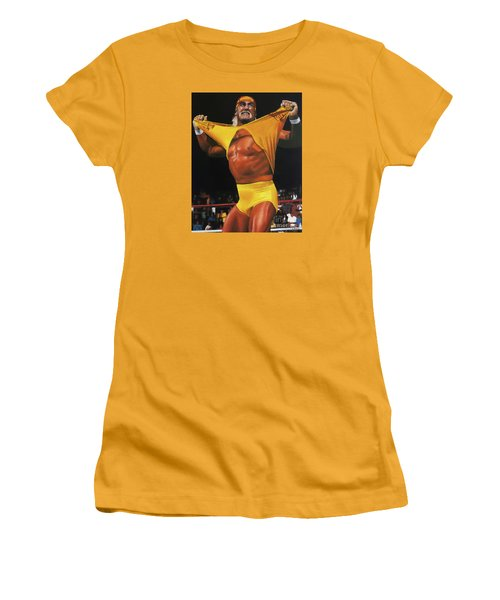 Hulk Hogan Oil On Canvas Women's T-Shirt (Athletic Fit)