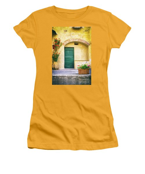 Women's T-Shirt (Athletic Fit) featuring the photograph Italian Facade With Geraniums by Silvia Ganora
