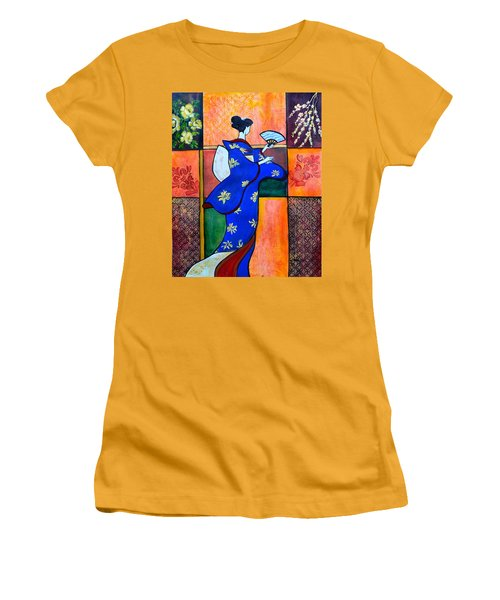 Japan Geisha Kimono Colorful Decorative Painting Ethnic Gift Decor Women's T-Shirt (Athletic Fit)