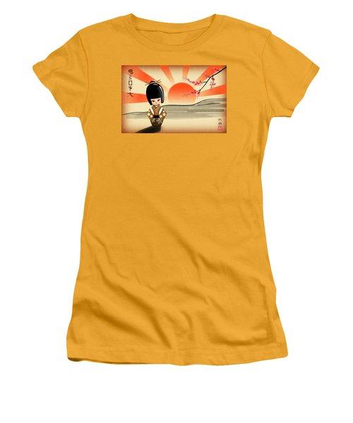 Japanese Kokeshi Doll Women's T-Shirt (Junior Cut) by John Wills