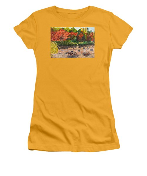 Japanese Maple Trees At The Creek Women's T-Shirt (Junior Cut) by Valerie Ornstein