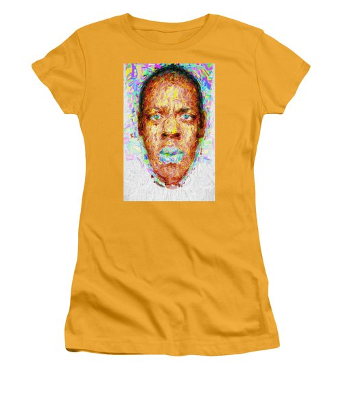 Jay Z Painted Digitally 2 Women's T-Shirt (Junior Cut) by David Haskett