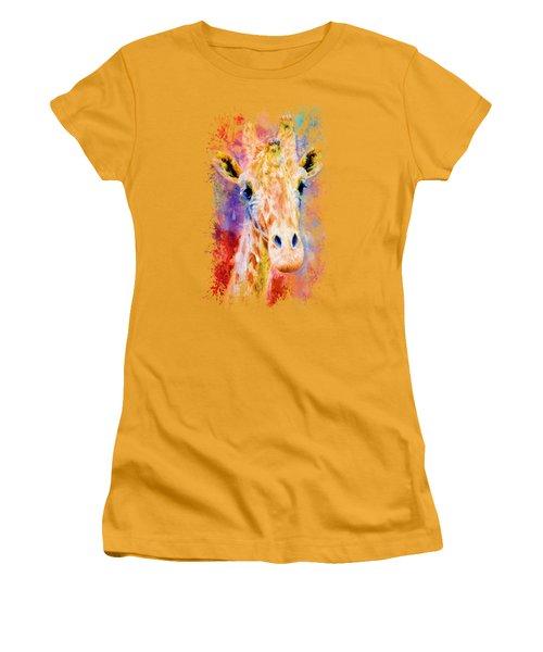 Jazzy Giraffe Colorful Animal Art By Jai Johnson Women's T-Shirt (Junior Cut) by Jai Johnson