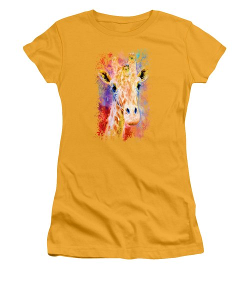 Jazzy Giraffe Colorful Animal Art By Jai Johnson Women's T-Shirt (Junior Cut)