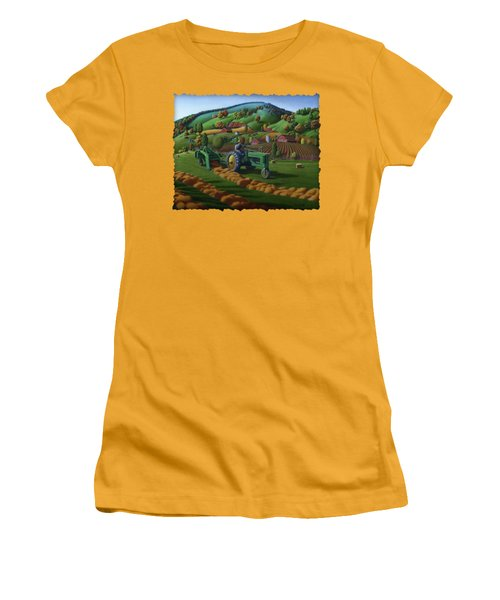 John Deere Tractor Baling Hay Farm Folk Art Landscape - Vintage - Americana Decor -  Painting Women's T-Shirt (Athletic Fit)