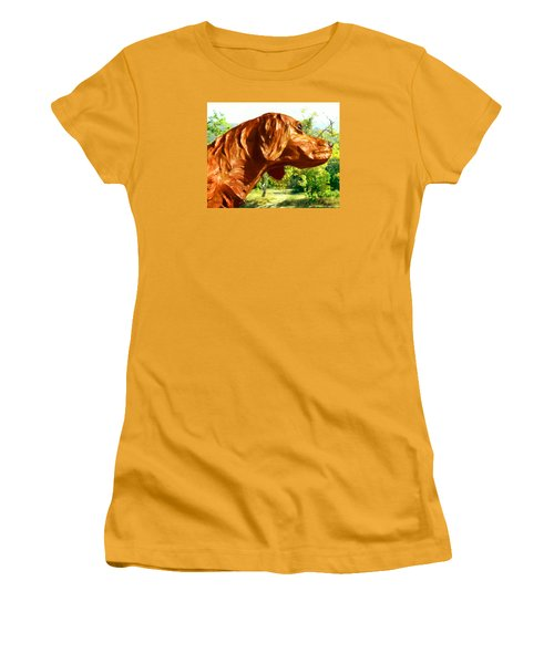 Junior's Hunting Dog Women's T-Shirt (Junior Cut) by Timothy Bulone
