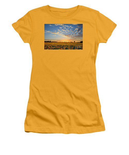 Kansas Sunflowers At Sunset Women's T-Shirt (Athletic Fit)