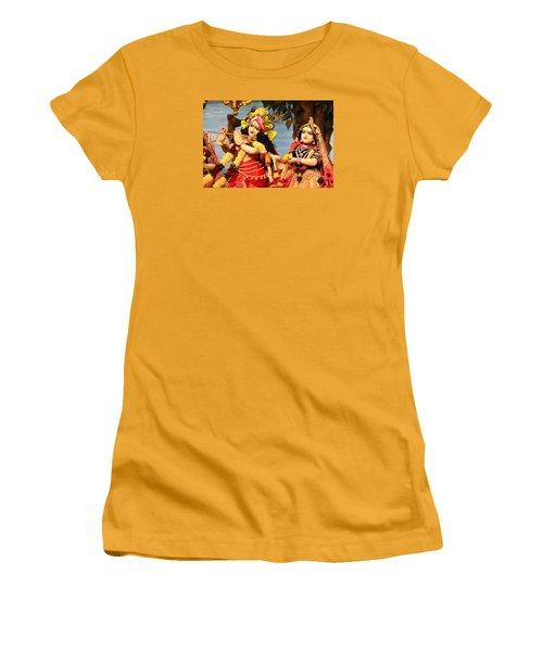 Krishna And Radha At Radha Gopinath Mandir, Mumbai Women's T-Shirt (Junior Cut) by Jennifer Mazzucco