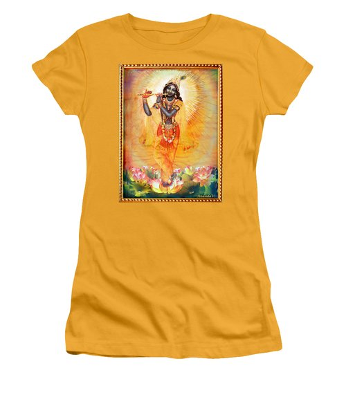 Krishna With The Flute Women's T-Shirt (Junior Cut) by Ananda Vdovic